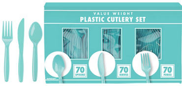 Robin's Egg Blue Plastic Cutlery Set 210ct