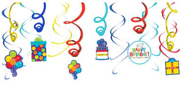 Birthday Fever Fun Swirl Decorations 12ct