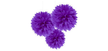 Purple Fluffy Decorations 16in 3ct