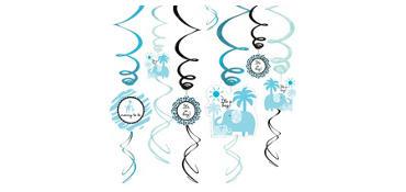 Blue Safari Baby Shower Swirl Decorations 12ct