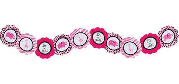 Pink Safari Printed Baby Shower Garland 8ft