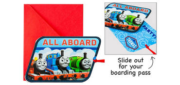 Premium Sliding Thomas the Tank Engine Invitations 8ct