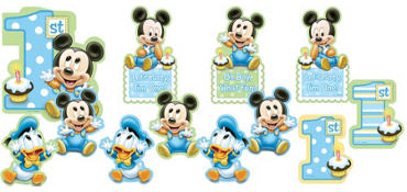 1st Birthday Mickey Mouse Cutouts 12ct