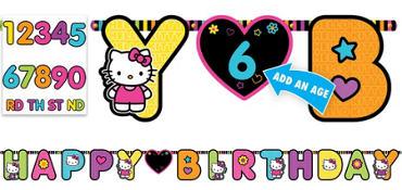 Neon Hello Kitty Birthday Banner 10ft