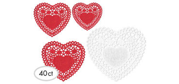 Valentine's Day Heart Doilies 40ct