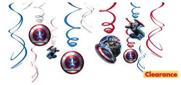 Captain America Swirl Decorations 12ct