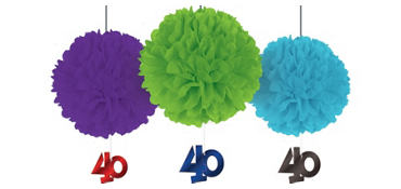 Deluxe The Party Continues 40th Birthday Fluffy Decorations 3ct