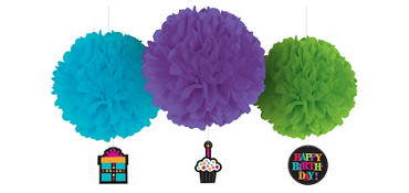 Party On Fluffy Decorations 3ct