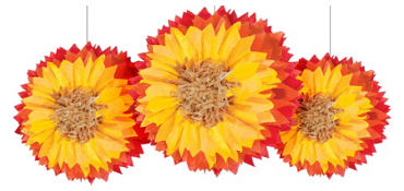 Sunflower Fluffy Decorations 3ct
