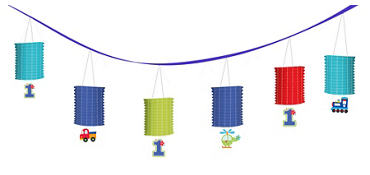 All Aboard 1st Birthday Paper Lanterns Garland
