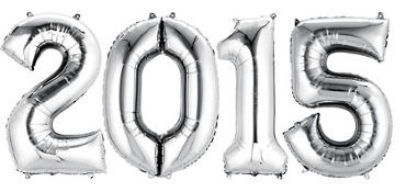 Silver 2015 Number Balloons