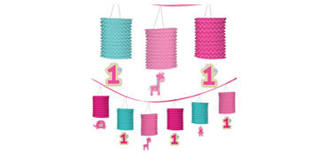 Wild at One Girl's 1st  Birthday Paper Lantern Garland