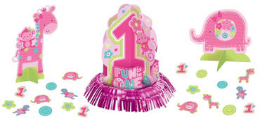 Wild at One Girl's 1st Birthday Table Decorating Kit 23pc