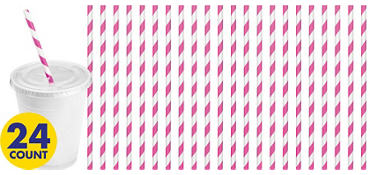 Bright Pink Striped Paper Straws 24ct