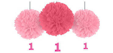 Pink 1st Birthday Fluffy Decorations with Glitter Cutouts 3ct