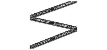 Metallic Black & White Birthday Banner