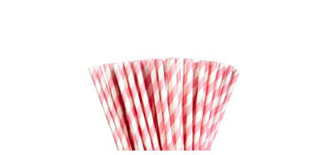 Pink Striped Paper Straws 80ct