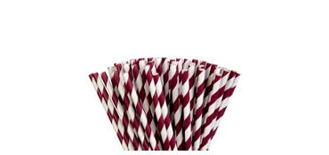 Berry Striped Paper Straws 80ct