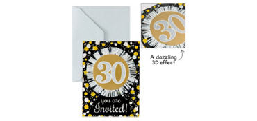Premium Prismatic 30th Birthday Invitations 8ct - Sparkling Celebration