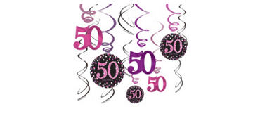 50th Birthday Swirl Decorations 12ct - Pink Sparkling Celebration