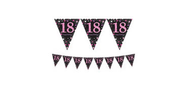 Prismatic 18th Birthday Pennant Banner - Pink Sparkling Celebration