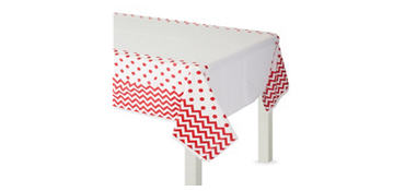 Red Polka Dot & Chevron Plastic Table Cover