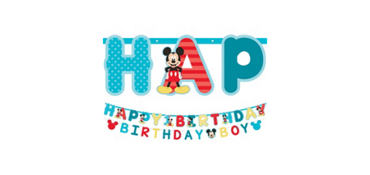 1st Birthday Mickey Mouse Letter Banner Kit 2pc