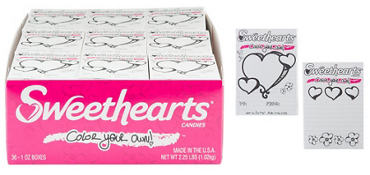 Color Your Own Box Sweethearts Conversation Hearts 36ct