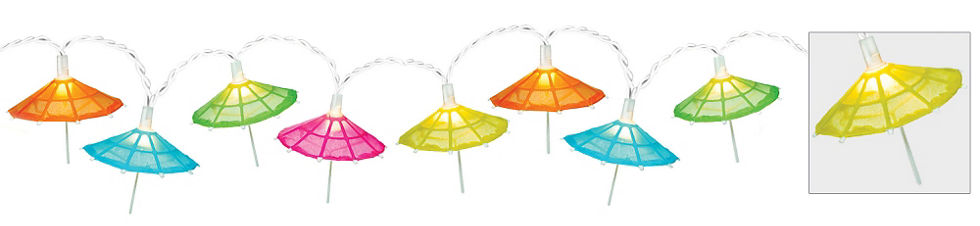 Parasol String Lights - Luau Patio Lights - Outdoor String Lights - Party City