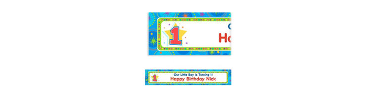 Custom One-Derful Boy 1st Birthday Banner 6ft