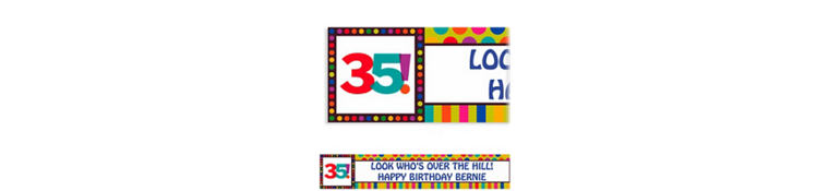 Custom Birthday Dots & Stripes 35th Birthday Banner 6ft