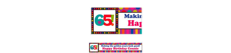 Custom Birthday Dots & Stripes 65th Banner 6ft