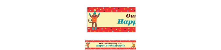 Custom Monkey Party Banner 6ft