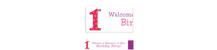 Custom Big 1st Birthday Pink Banner 6ft
