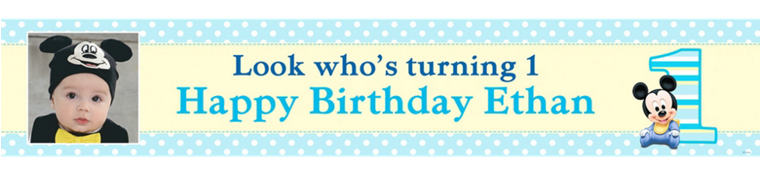 Custom Mickey Mouse 1st Birthday Photo Banner 6ft
