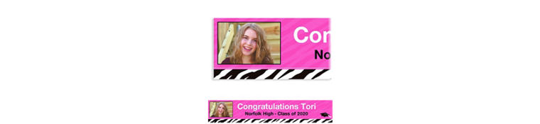 Custom Zebra Party Graduation Photo Banner 6ft