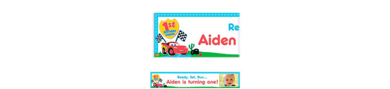 Custom Cars 1st Birthday Photo Banner 6ft