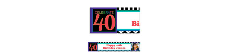 Custom 40th Celebration Photo Banner 6ft