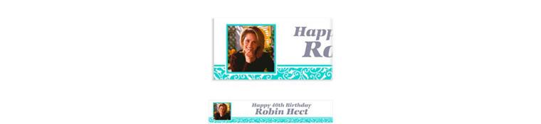 Custom Robin's Egg Blue Ornamental Scroll Photo Banner 6ft