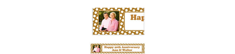 Custom Gold Polka Dot Photo Banner 6ft