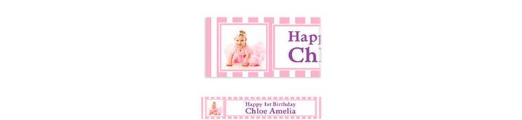 Custom Pink Stripe Photo Banner 6ft