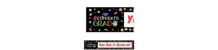 Custom Smiley Graduation Banner