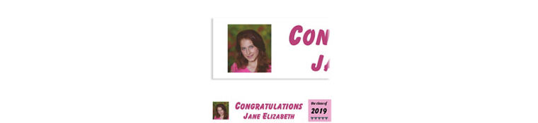 Custom Pink Pennant Banner Graduation Photo Banner
