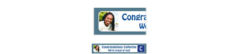 Custom Silver Color Block Initial Graduation Photo Banner