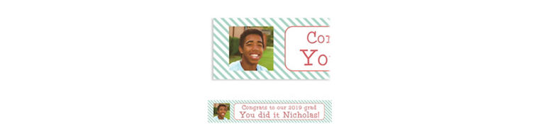 Custom Salmon & Teal Stripes Graduation Photo Banner