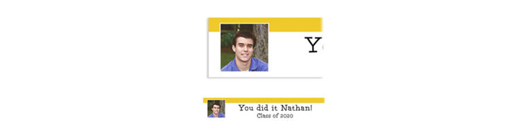 Custom Yellow Block Initial Graduation Photo Banner