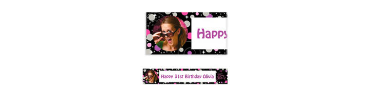 Custom Pink Sparkling Celebration Birthday Photo Banner