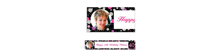 Custom Pink Sparkling Celebration 40 Photo Banner