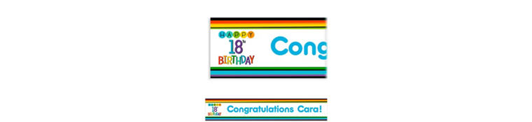 Custom Rainbow 18th Birthday Banner