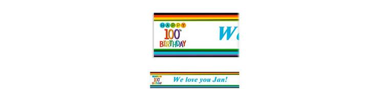 Custom Rainbow 100th Birthday Banner